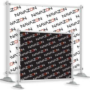 step and repeat banner image showing two sizes and logo design