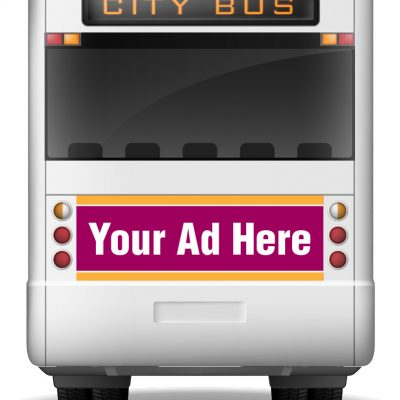 tail bus ad shown on a bus that says your ad here