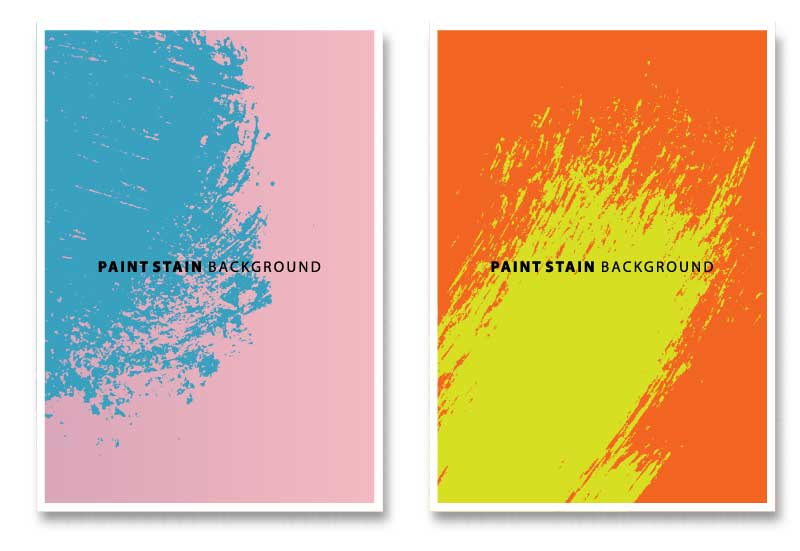 Two digital posters shown, one that is pink and blue and another that is orange and green