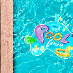 product example of a pool decal shown inside a pool, a decal of a swan that has pool time written on it