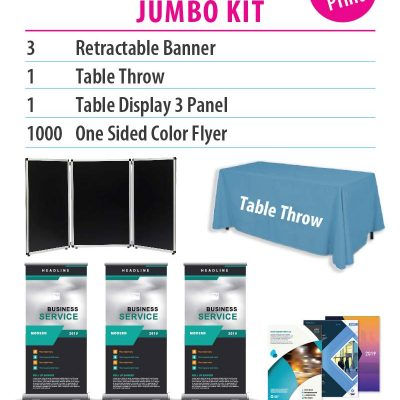 collage showing different products in a package deal, a table throw, panels, banners, and flyers