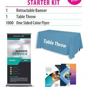 Collage of product images that show a table throw, a banner and flyers