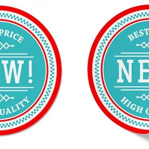 circle stickers, red and blue that say best price and new high quality