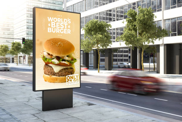 3d rendering burgerposter on the city